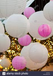 and light balls hanging on a ceiling with christmas