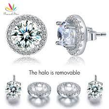 detachable earrings peacock 2 5 carat halo removable stud earrings solid 925