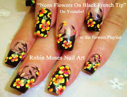 try out this awesome neon floral black french tip nail art design