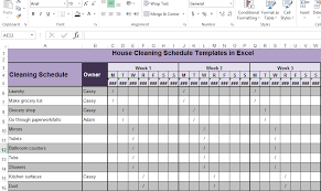 Excel Template Schedule House Cleaning Schedule Templates In Excel Exceltemple