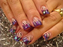 purple and silver nail designs