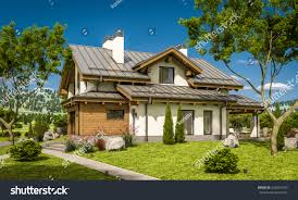 3d rendering modern cozy house chalet stock illustration 626534753