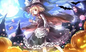 halloween long background touhou animal bat blonde hair braids candy cape clouds dress