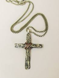 christian jewelry store large cross clear rhinestone open work silver estate necklace