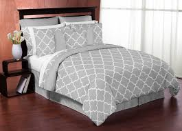 sweet jojo designs gray and white trellis collection 3pc king