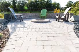 Paver Patios With Fire Pit by Custom Circle Fire Pit Inlaid In A Roman Paver Patio Outdoor
