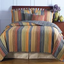 king size 100 cotton quilt set with brown orange blue stripes