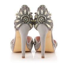 wedding shoes jeweled heels deco suede via emmy london mrs deco