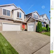 House With Garage Cozy House Exterior With Garage Stock Photo Image 44678117