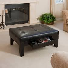 Black Leather Storage Ottoman Furniture Glossy Leather Storage Ottoman Coffee Table Open Slat
