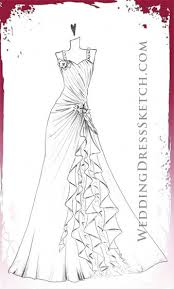 drawn gown stylish pencil and in color drawn gown stylish
