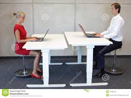 Laptops Desks Office Workers In Correct Sitting Posture At Desks With Laptops