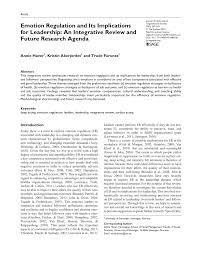 emotion regulation and its implications for leadership an