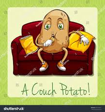 Couch Potato Tv Couch Potato Idiom Concept Illustration Stock Vector 301679021