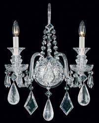 Vintage Crystal Sconces Schonbek 5502 Hamilton Rock Crystal Collection Sconce Crystal