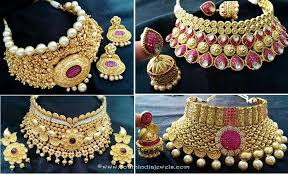 wedding choker necklace images Grand wedding choker necklace sets south india jewels jpg