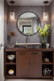 Standard Height Of Bathroom Mirror by Contemporary Powder Room With Pendant Light Vessel Sink Interior