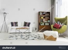 bright modern living room modernist furniture stock photo