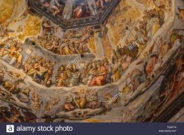 close up detailed interior dome view of famous duomo in florence