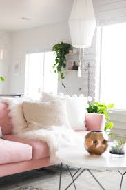 White Living Room Table by A Chic Living Room Update With A Gorgeous Pink Sofa