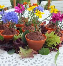 make your own edible flower wedding favours from flowerpot muffins