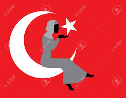 Muslim Flag Muslim Woman In Hijab With A Turkish Flag Royalty Free Cliparts