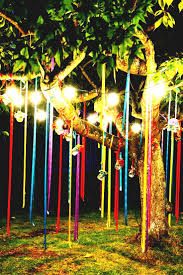 outside decorations colorful hanging ribbons and jar lanterns for outside decor