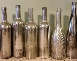 silver wine bottles painted wine bottles etsy
