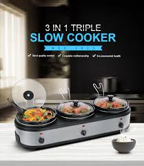 buffet warmer original with led display silver 3 station crock pot