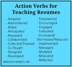 Action Words Resume Words To Use On A Teaching Resume Other Than U201ctaught U201d Resume