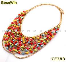 multi layered beaded necklace images Vintage bib choker necklaces fashion irregular bubble resin jpg