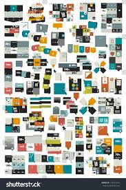 collections info graphics flat design diagrams stock vector