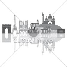 paris skyline in french flag color illustration gl stock images