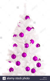 white christmas tree and purple balls white background stock