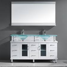 Frosted Glass Bathroom Cabinet by This Double Sink Vanity Makes A Statement In Your Bathroom With