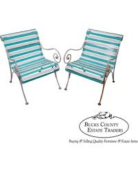 Patio Lounge Chairs On Sale Bargains On Woodard Pair Of Vintage Vinyl Strap Iron Frame Patio