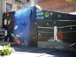 painting the solar system sharks underwater and boxing rings a painting the solar system sharks underwater and boxing rings a fun graffiti job in the upper east side