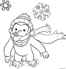 coloriage singe facile sur la neige dessin