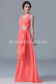 orange chiffon sleeveless v neck modest a line bridesmaid dress