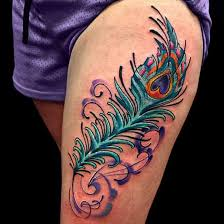 colorful feather tattoo design idea more feather tattoos at http