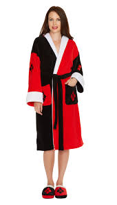 women u0027s dc comics black and red harley quinn hooded costume