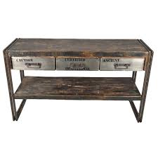 industrial console table with drawers museum 3 drawer reclaimed wood iron hall console table