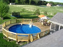 outdoor backyard above ground pool landscaping around above