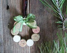 this handmade ornament is made out of recycled wine corks each