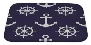 Navy Bath Rug Bath Rug Mat No Slip Microfiber Memory Foam Navy Blue White