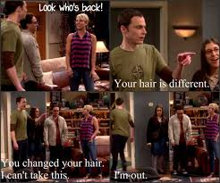 why did penny cut her hair big bang theory 8 1 sheldon returns and does not like seeing that