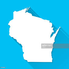 Racine Wisconsin Map by Wisconsin Map On Blue Background Long Shadow Flat Design Vector
