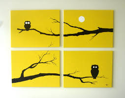 Modern Wall Art Owl Paintings Yellow Black White 18 X 24 Set Of 4 Modern Wall