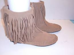 womens boots size 9 ebay the gap leather suede fringe zipper ankle moccasins s boots