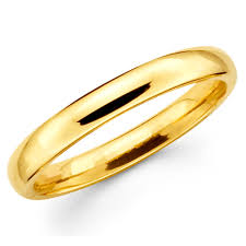gold band tjg 14k solid yellow gold 3mm plain men s and women s wedding band